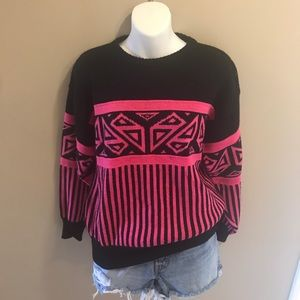 Black and Pink Retro Vintage Sweater Flying Worm